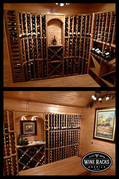 Very nice looking oak stained wine cellar. The display row cellar kits are the perfect way to show off your best vintage, while the solid bins allow for bulk bottle storage. Elegant and efficient, the perfect combination.