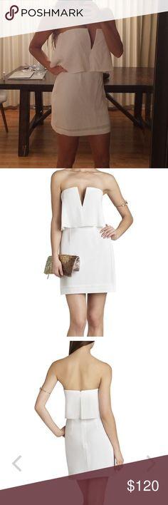 Bcbgmaxazria Kate overlay dress Bcbgmaxazria Kate overlay white dress. New with tags. Size 4. BCBGMaxAzria Dresses Mini