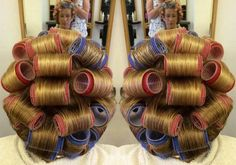 Big Hair Rollers, Sleep In Hair Rollers, Hair Setting, Roller Set, Curlers, 4th Of July Wreath, Pretty, Beautiful, Sexy