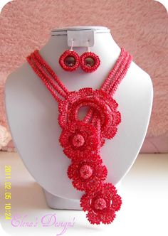 Necklace Earrings Crochet Flowers Coral Gold Set