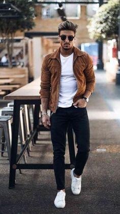 A calça masculina é uma peça coringa e combina com tudo, é uma ótima opção para montar looks despojados e confortáveis. Essa é uma peça que muitos homens acabam dando menos importância. Mas esse ano muitos modelos estão em alta e pode fazer você mudar de ideia com essas tendências. Best Casual Shirts, Best Casual Outfits, Vans Outfit Men, Man Outfit, Adidas Outfit, Mens Fall Outfits, Men's Spring Outfits, Best Winter Outfits Men, Stylish Men