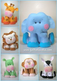 Felt Animals -- Oh I bet I could make these...if I could find the extra time! They are so stinkin' adorable!