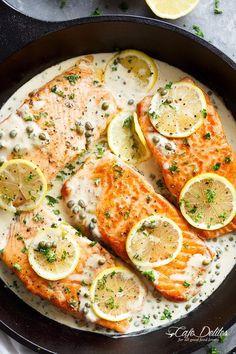 Creamy Lemon Garlic Salmon Piccata is a classy yet easy salmon recipe you've bee. - Creamy Lemon Garlic Salmon Piccata is a classy yet easy salmon recipe you've been waiting for, wi - Salmon Dishes, Seafood Dishes, Seafood Recipes, Cooking Recipes, Healthy Recipes, Dinner Recipes, Fish Recipes, Keto Recipes, Fish Dishes