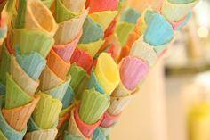 colored ice cream cones with scallop pattern
