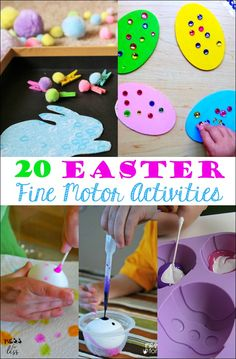 These Easter fine motor activities will help kids work on those all important fine motor skills while getting ready for Easter.