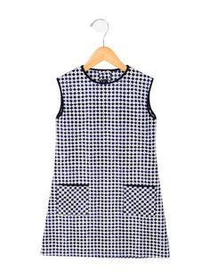 Oscar de la Renta Girls' Printed Crew Neck Dress