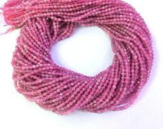Natural Pink Tourmaline Beads Faceted 2mm Tiny Tourmaline Bead Genunine Pink Gemstone Bead Small Pink Semi Precious Stone Faceted Tourmaline