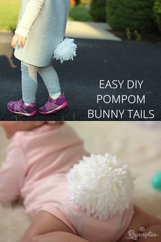 Easy DIY pom pom bunny tails. This is such a simple way to make pom poms.