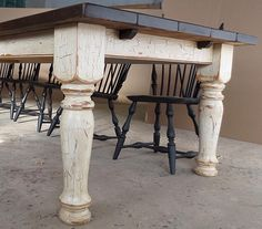 Other Design, : Rustic 10 Ft Farmhouse Dining Table With Oval Tapered Leg Design