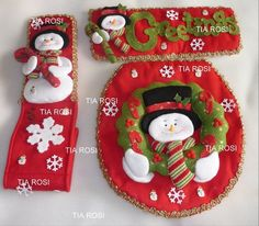 juegos de baño navideños - Google Search Unique Christmas Decorations, Christmas Ornaments To Make, Christmas Sewing, Christmas Items, Christmas Angels, Christmas Projects, Christmas Holidays, Christmas 2019, Snowman Crafts