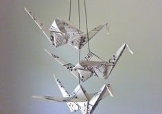 Origami grue Mobile bébé Eco Friendly par SpareBedroomStudio