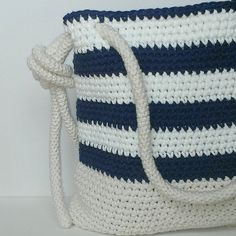 Virkad marin väska med virkad axelband | Crochet bag AND crochet ROPE!