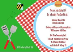 Summertime picnic/cookout printable invitation