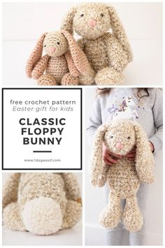 This free amigurumi crochet bunny rabbit pattern from One Dog Woof will become your child's favorite floppy friend. The classic floppy ears, pom pom tail and super soft fur make it the perfect crochet lovey. You can even use different types of yarn to create a different style or size of bunny. This sweet crochet rabbit is an adorable Easter gift for kids or a spring baby gift. Grab the pattern and follow along with the detailed photo tutorial! #onedogwoof Easter Crochet Patterns, Crochet Patterns Amigurumi, Crochet Crafts, Crochet Toys, Crochet Projects, Crochet Lovey, Crochet Rabbit, Easy Crochet, Free Crochet