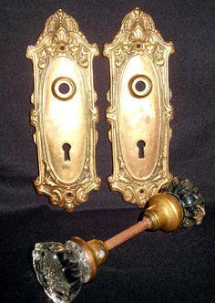 Antique Victorian Brass Bronze Door Plates Lock Skeleton Key Holes W/Glass  Knobs