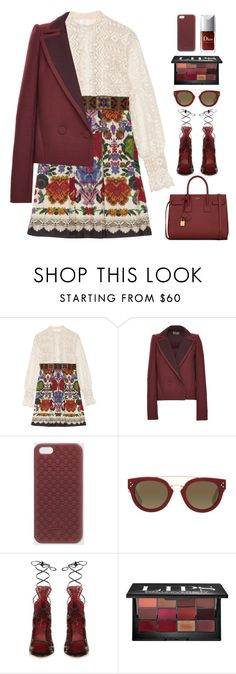"""""""Print Dress & Oxblood Blazer"""" by junglover ❤ liked on Polyvore featuring Anna Sui, Zac Posen, Gucci, CÉLINE, Isabel Marant, Bobbi Brown Cosmetics and Yves Saint Laurent"""