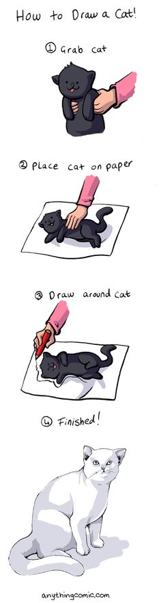 How to Draw a Cat- yeah right! More like grab cat, get scratched up. Release cat. draw stick figure cat.