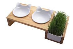 ViviPet Cat Dining Table ❤_15° Tilted Platform Pet Feeder_❤ Solid Pine Stand with Ceramic Bowls - Elevated Cat feeder Raised Cat Bowl Mykonos Collection ...