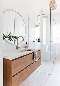 Dreaming of a luxury or designer bathroom? We've gathered together lots of gorgeous bathroom ideas for small or large budgets, including baths, showers, sinks and basins, plus bathroom decor ideas. New Bathroom Designs, Bathroom Design Inspiration, Modern Bathroom Design, Bathroom Interior Design, Minimal Bathroom, Interior Design Basics, Modern Bathroom Cabinets, Nordic Interior Design, Light Bathroom