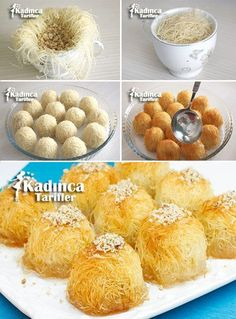 Tel Kadayıf Dessert Recipe in Cup, How To? - Womanly Recipes - Delicious, Practical and Delicious Food Recipes Site - Tel Kadayıf Dessert Recipe in Cup - Cakes Originales, Lebanese Desserts, Cookie Recipes, Dessert Recipes, Dinner Recipes, Tasty, Yummy Food, Arabic Food, Turkish Recipes