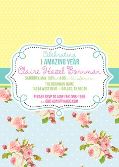 shabby chic party invitation, vintage party invitation, shabby chic party invites from party box design