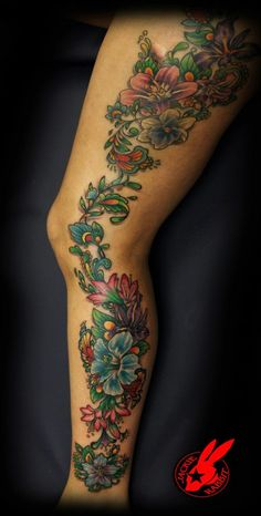 80a03c187d893 Flower Tattoo by Jackie Rabbit Rabbit Tattoos, Custom Tattoo, Tattoo Art,  Cool Tattoos