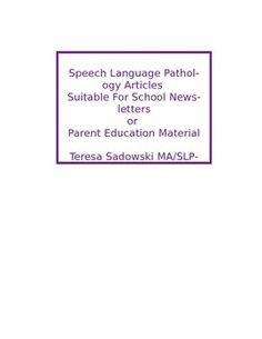 SLP parent/teacher information on Pinterest | Speech And ...