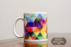 Colorful Mug Geometric Pattern Mug Abstract Mug by GoldenUpcycling