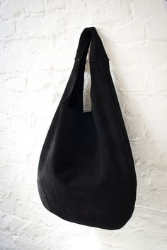 Carry Bags – Soft Hobo black Suede – a unique product by Patkas_ on DaWanda