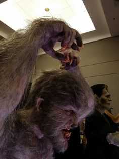 """See Mike Hill's life-size, life-like """"Aurora Wolfman"""" statue up close and personal Mike Hill, Lon Chaney Jr, Bark At The Moon, Life Size Statues, Black Lagoon, Werewolf, Lion Sculpture, Monsters, Classic"""