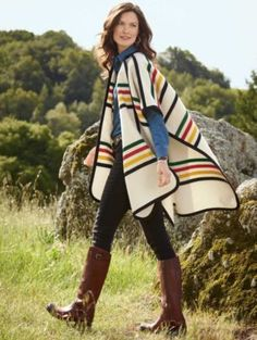 Pattern from our first National Park blanket creates a warm, open-front wrap with felt binding. long Wool/cotton Dry clean Made in USA Hudson Bay Blanket, Blanket Poncho, Glacier Park, Western Wear, American Apparel, Fabric Design, Girl Outfits, My Style, Native Fashion