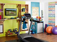 conception colorée pour gym à domicile décor avec design en bois de stockages en tapis roulant moderne avec belle table