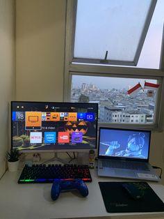 Laptop Gaming Setup, Best Gaming Setup, Gamer Setup, Gaming Room Setup, Computer Setup, Pc Setup, Cute Teen Rooms, Cool Bedrooms For Boys, Cool Rooms