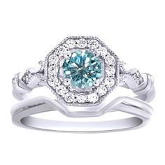 5 Ct Light Blue Moissanite 2 Piece Engagement Bridal Set Ring 10K White Gold by JewelryHub on Opensky