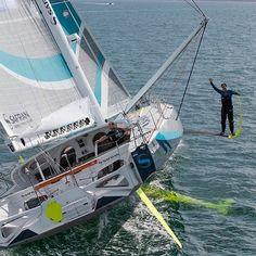 Safran Sailing Team skipper Morgan Lagravière takes a walk on the foil's side! Photo: Jean-Marie Liot @jeanmarieliotphotos