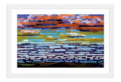 DIY idea:  paint a cloudy sky on canvas, let dry, cover with random strips of masking and translucent tape, paint rows of sunset colors, let dry, and remove.  Clara Hastrup, Blueberry Sky on OneKingsLane.com