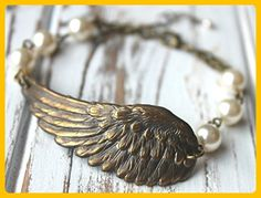 FREE shipping. Antiqued Brass Wing Bracelet - Your choice Swarovski Pearl color. Hand-linked pearls. Angel. Bird Wing Feather - Groom cufflinks and tie clips (*Amazon Partner-Link)