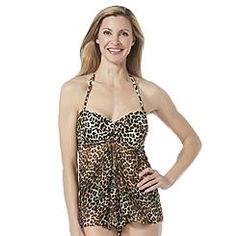 fecf683f2a464 Jaclyn Smith Women's Twist-Front Tankini Top - Leopard Jaclyn Smith,  Tankinis, Tankini