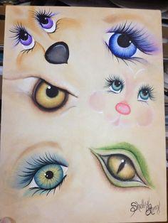 Loucos por pintura - Aulas de pintura em tela e tecido: Olhos e carinhas.