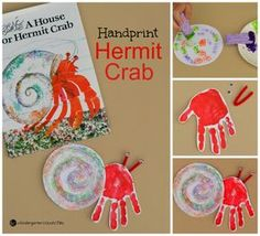 This handprint hermit crab kid craft is a fun extention to the classic book, A House for Hermit Crab, by Eric Carle. This handprint hermit crab kid craft is a fun extention to the classic book, A House for Hermit Crab, by Eric Carle. Eric Carle, Preschool Books, Kindergarten Activities, Preschool Activities, Vocabulary Activities, Book Activities, Toddler Art, Toddler Crafts, Kids Crafts
