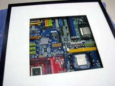 Geeky Art - Old Motherboards in Ikea RIBBA Frame - this would be PERFECT for my husbands future office.