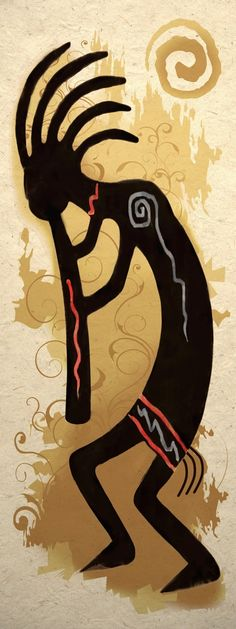 Discover the secret meaning of the mysterious Kokopelli symbol. Pictures and meanings of Native American Indian symbols including the Kokopelli symbol. The Kokopelli symbol meaning. Native American Flute, Native American Symbols, Arte Tribal, Tribal Art, Kunst Der Aborigines, Kunst Poster, Art Africain, Art Sculpture, Gourd Art