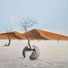 Broken moon in the desert of Namibia #tertius_van_dyk_art #art #artist #surreal #surrealism #surrealist #surrealistart #modernart #arttrends #trends #painting #painters #oilpainting #canvas #iloveart #southafricanartists #southafrica #hermanus #overberg #southafricanart #artsouthafrica #dali #frieda #salvadordali #moon