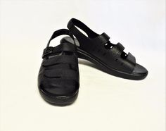 1d9b833da07d52 NEW Propet Breeze 7 37.5 N Walker Sandals Black Leather Adjustable Straps  Flat. Top ShoesWomen s ...