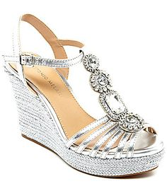 Antonio Melani Ritah Jeweled TStrap Wedges #Dillards