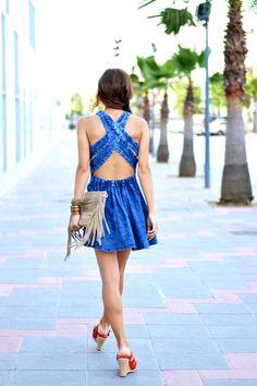 Blue Criss Cross Backless Denim Dress