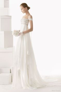 rosa clara wedding dresses 2014 bridal celia empire waist beaded bodice sleeves straps