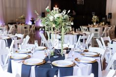 Reception Tables Gold Accent White Black Tall Centerpieces | The-Palms-Chico-California-Wedding-Photographer-TréCreative