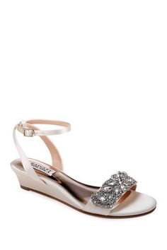 Badgley Mischka Women's Hatch Embellished Satin Demi Wedge Sandals Wedge Wedding Shoes, Bridal Wedding Shoes, Bridal Heels, Lace Wedding, Wedding Rings, Wedding Dresses, Low Wedge Sandals, Ankle Strap Sandals, Special Occasion Shoes