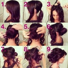 "Cute way to have a ""curly"" updo without curling everything"